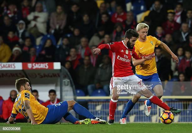 Benfica's forward Rafa Silva with Estoril's midfielder Dmytro Yarchuk from Ucrania in action during the Primeira Liga match between GD Estoril Praia...
