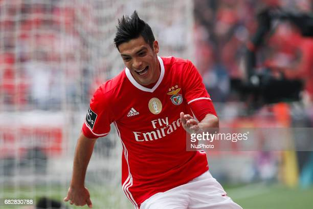 Benfica's forward Raul Jimenez celebrates his goal during Premier League 2016/17 match between SL Benfica vs Vitoria SC in Lisbon on May 13 2017