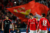 Benfica's forward Raul Jimenez celebrates his goal with Benfica's forward Eduardo Salvio during the Champions League football match between SL...