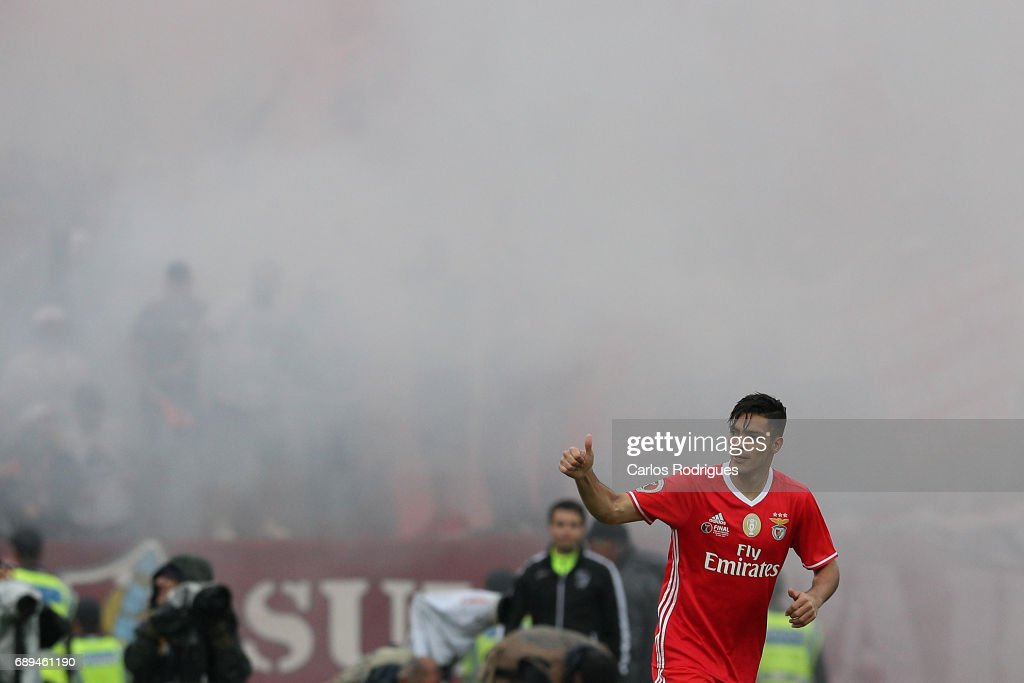Benfica's forward Raul Jimenez from Mexico celebrates scoring Benfica first goal during the match between SL Benfica and Vitoria SC for the Portuguese Cup Final Liga at Estadio Nacional on May 28, 2017 in Lisbon, Portugal.