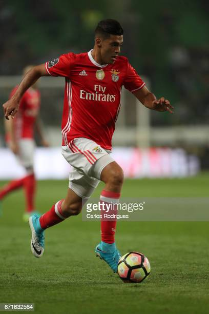 Benfica's forward Raul Jimenez from Mexico during the Sporting CP v SL Benfica Portuguese Primeira Liga match at Estadio Jose Alvalade on April 22...
