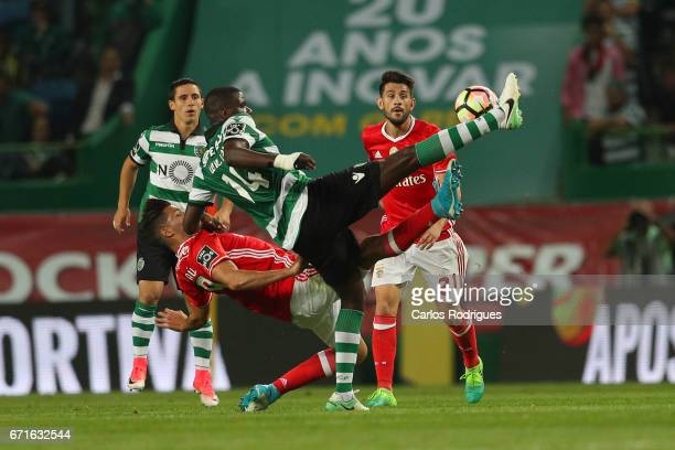 Benfica's forward Raul Jimenez from Mexico vies with Sporting CP's midfielder William Carvalho from Portugal during the Sporting CP v SL Benfica...