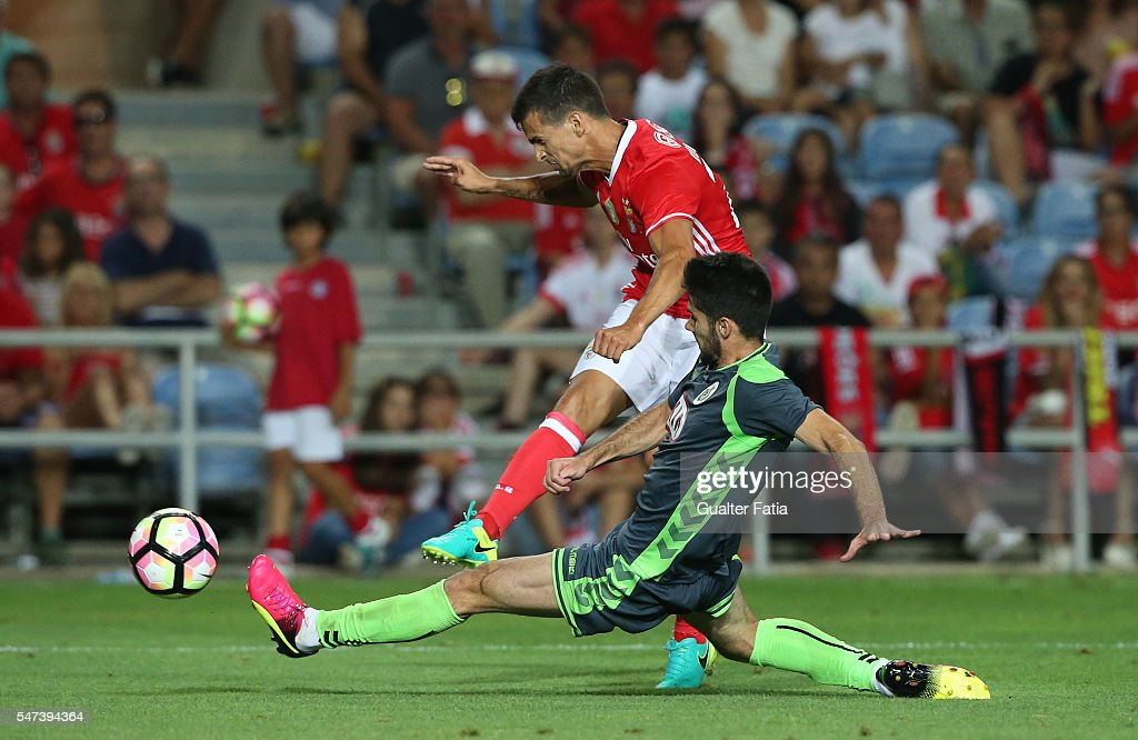 SL Benfica's forward Rui Fonte with Vitoria Setubal's defender Ruca in action during the Algarve Football Cup Pre Season Friendly match between SL Benfica and Vitoria Setubal at Estadio do Algarve on July 14, 2016 in Faro, Portugal.