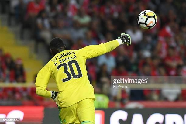Benficas goalkeeper Bruno Varela from Portugal during the Candido Oliveira Super Cup match between SL Benfica and Vitoria Guimaraes at Municipal de...