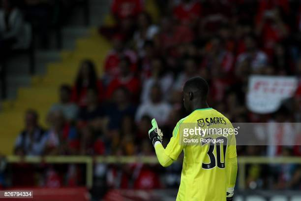 Benfica's goalkeeper Bruno Varela from Portugal during the match between SL Benfica and VSC Guimaraes at Estadio Municipal de Aveiro on August 05...