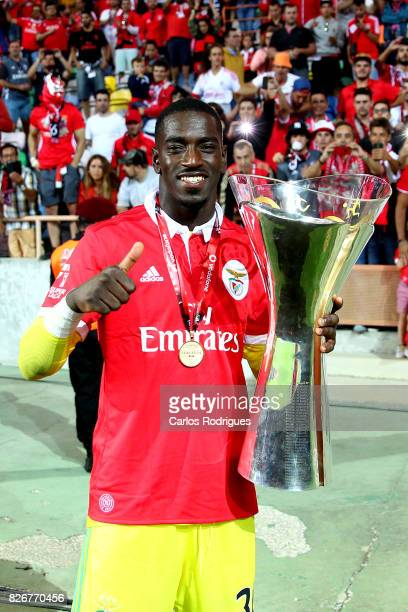 Benfica's goalkeeper Bruno Varela from Portugal with the Portuguese Super Cup trophy after the match between SL Benfica and VSC Guimaraes at Estadio...