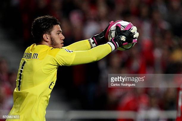 Benfica's goalkeeper Ederson during the match between SL Benfica and FC Zenit for the UEFA Champions League Quarter Final Second Leg at Estadio da...