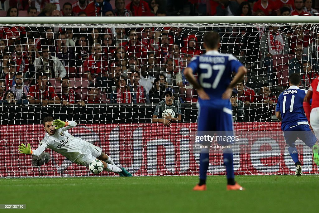 Benfica's goalkeeper Ederson from Brasil saves a penalty kick during SL Benfica v FC Dynamo Kyiv - UEFA Champions League round four match at Estadio da Luz on November 01, 2016 in Lisbon, Portugal.