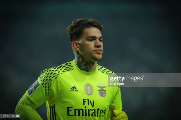 Benficas goalkeeper Ederson Moraes from Brazil during Premier League 2016/17 match between Sporting CP and SL Benfica at Alvalade Stadium in Lisbon...