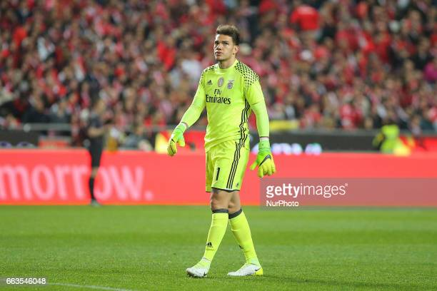 Benficas goalkeeper Ederson Moraes from Brazil during the Premier League 2016/17 match between SL Benfica v FC Porto at Luz Stadium in Lisbon on...