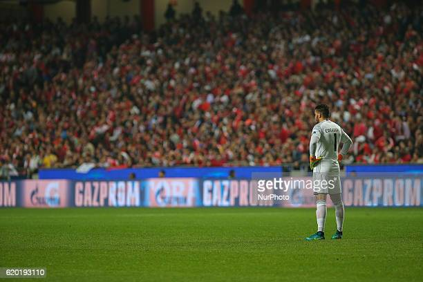 Benficas goalkeeper Ederson Moraes from Brazil during UEFA Champions League Group B match between SL Benfica and Dynamo Kyiv at Luz Stadium in Lisbon...