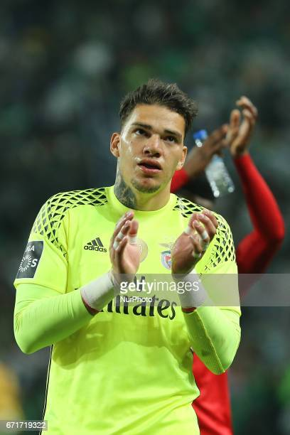 Benficas goalkeeper Ederson Moraes from Brazil thanking the supporters at the end of the match during Premier League 2016/17 match between Sporting...