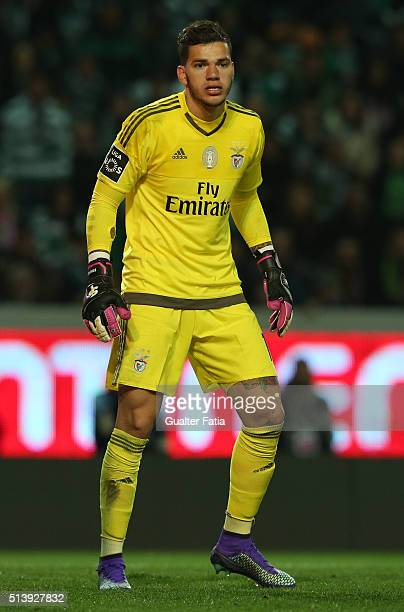 BenficaÕs goalkeeper from Brazil Ederson in action during the Primeira Liga match between Sporting CP and SL Benfica at Estadio Jose Alvalade on...