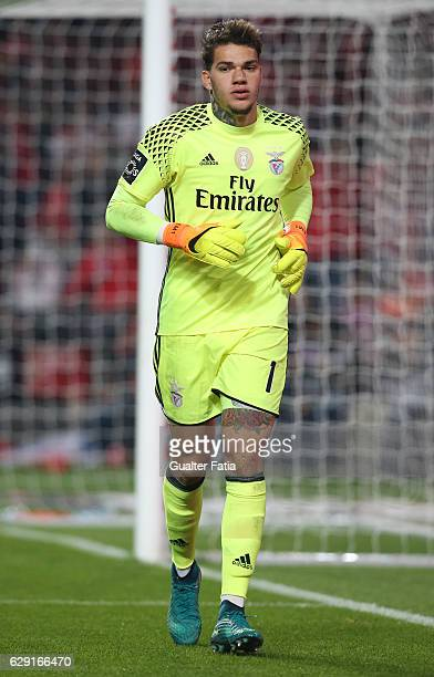 Benfica's goalkeeper from Brazil Ederson in action during the Primeira Liga match between SL Benfica and Sporting CP at Estadio da Luz on December 11...