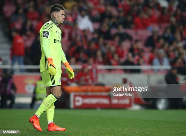 Benfica's goalkeeper from Brazil Ederson in action during the Primeira Liga match between SL Benfica and CD Nacional at Estadio da Luz on February 5...