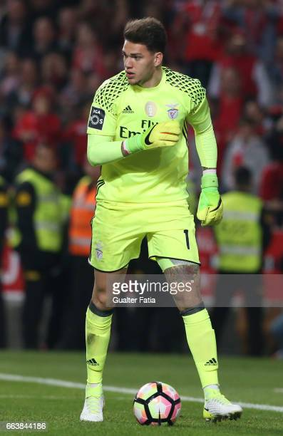 Benfica's goalkeeper from Brazil Ederson in action during the Primeira Liga match between SL Benfica and FC Porto at Estadio da Luz on April 1 2017...