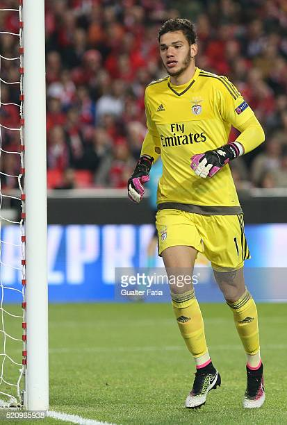 Benfica's goalkeeper from Brazil Ederson in action during the UEFA Champions League Quarter Final Second Leg match between SL Benfica and FC Bayern...