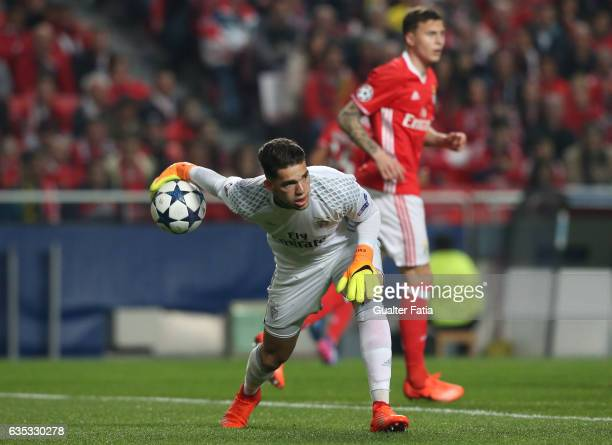 BenficaÕs goalkeeper from Brazil Ederson in action during the UEFA Champions League Round of 16 First Leg match between SL Benfica and Borussia...