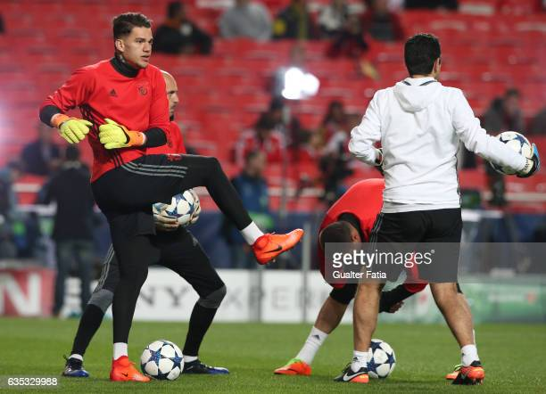 BenficaÕs goalkeeper from Brazil Ederson in action during warm up before the start of the UEFA Champions League Round of 16 First Leg match between...