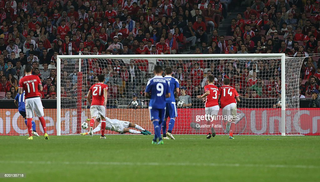 SL Benfica's goalkeeper from Brazil Ederson saves penalty kick from FC Dynamo Kyiv's forward Junior Moraes from Brasil during the UEFA Champions League match between SL Benfica and FC Dynamo Kyiv at Estadio da Luz on November 1, 2016 in Lisbon, Portugal.