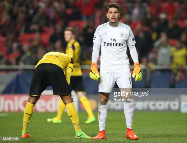 Benfica's goalkeeper from Brazil Ederson with Dortmund's forward Pierre Aubameyang from Gabao during the UEFA Champions League Round of 16 First Leg...