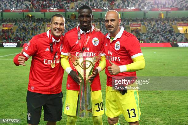 Benfica's goalkeeper Julio Cesar from Brasil Benfica's goalkeeper Bruno Varela from Portugal and Benfica's goalkeeper Paulo Lopes from Portugal with...