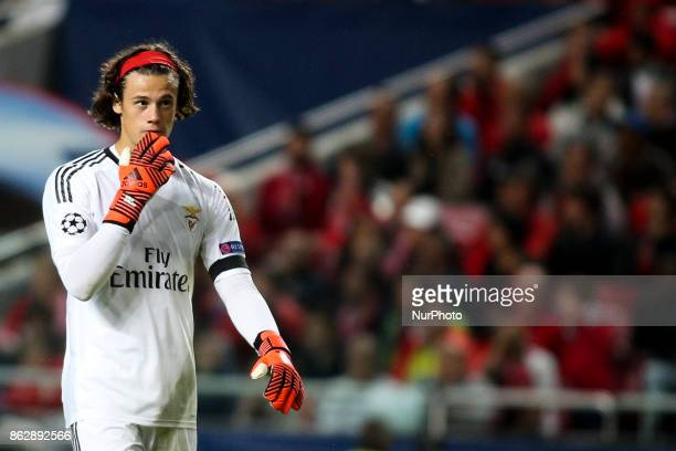 Benfica's goalkeeper Mile Svilar reacts during the Champions League football match between SL Benfica and Manchester United at Luz Stadium in Lisbon...