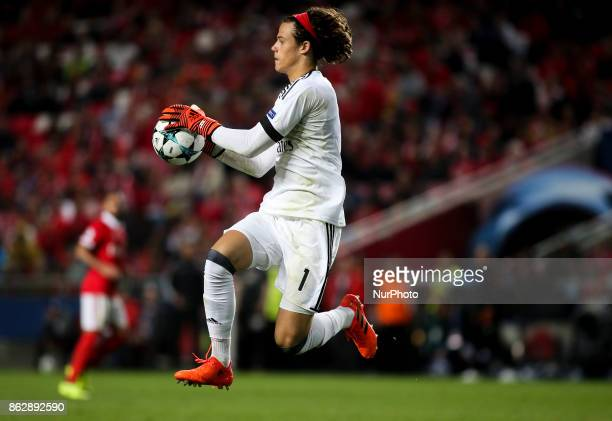 Benfica's goalkeeper Mile Svilar saves the ball during the Champions League football match between SL Benfica and Manchester United at Luz Stadium in...
