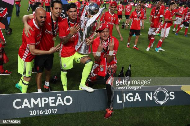 Benfica's goalkeeper Paulo Lopes from Portugal Benfica's goalkeeper Ederson Moares from Brasil and Benfica's goalkeeper Julio Cesar from Brasil...