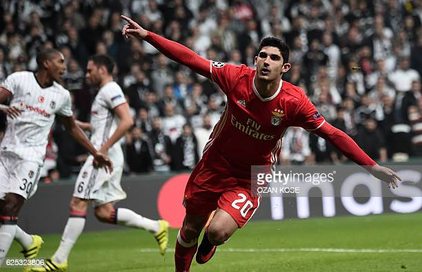 Benfica's Gocalo Guedes celebrates after scoring a goal against Besiktas during the UEFA Champions League Group B football match between Besiktas...
