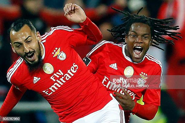Benfica's Greek forward Konstantinos Mitroglou celebrates his goal with teammate forward Renato Sanches during the Portuguese league football match...