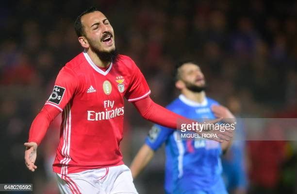 Benfica's Greek forward Konstantinos Mitroglou gestures after missing a chance to score a goal during the Portuguese league football match CD...