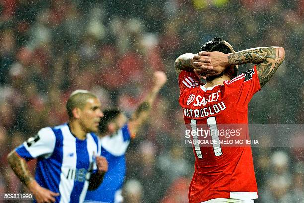 Benfica's Greek forward Konstantinos Mitroglou gestures during the Portuguese league football match SL Benfica vs FC Porto at Luz stadium in Lisbon...