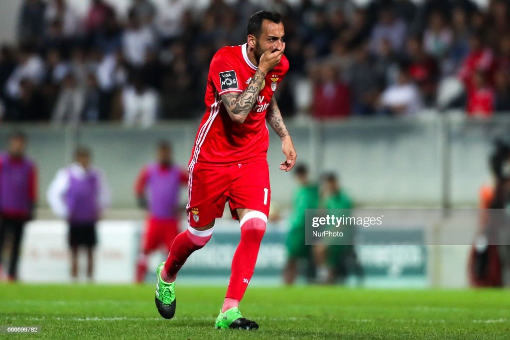 Benfica's Greek forward Kostas Mitroglou reacts during the Premier League 2016/17 match between Moreirense FC and SL Benfica at Parque Desportivo Comendador Joaquim de Almeida Freitas Stadium in Moreira de Conegos on April 9, 2017.