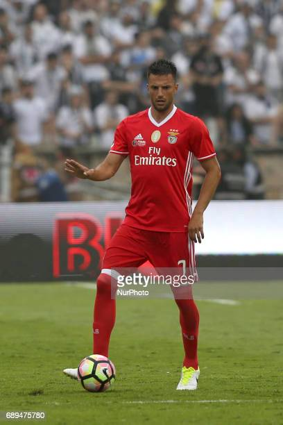 Benfica's Greek midfielder Andreas Samaris in action during the Portugal Cup Final football match SL Benfica vs Vitoria Guimaraes SC at Jamor stadium...