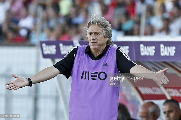 Benfica's head coach Jorge Jesus gestures during Portuguese League football match Maritimo vs SL Benfica at Barreiros Stadium in Funchal on August 18...