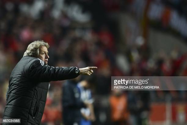 Benfica's head coach Jorge Jesus gestures during the Portuguese league football match SL Benfica vs FC Porto at Luz stadium on January 12 2014 AFP...