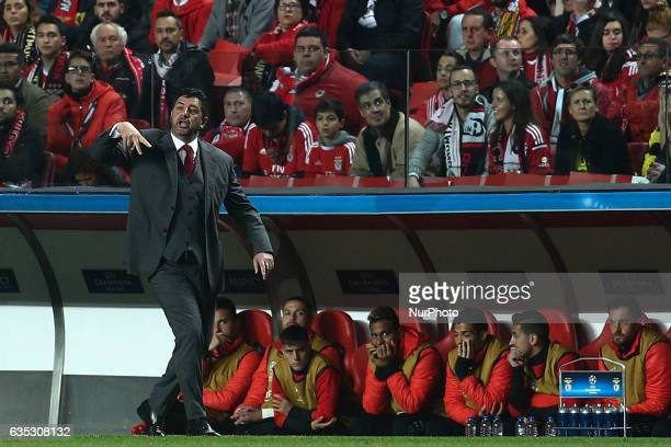 Benfica's head coach Rui Vitoria gestures from the sideline during the Champions League football match between SL Benfica and Borussia Dortmund at...