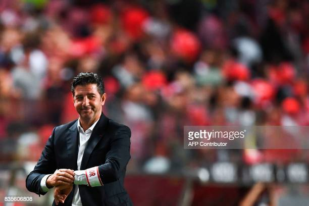 Benfica's head coach Rui Vitoria smiles during the Portuguese League football match SL Benfica vs Os Belenenses at Luz stadium on August 19 2017 /...