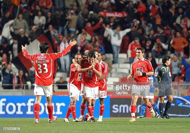 Benfica's Katsouranis and Leo during the Portuguese Bwin League match against Belenenses December 21 2006 in Lisbon Portugal