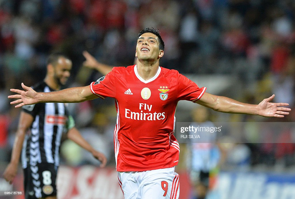 Benfica's Mexican forward Raul Jimenez celebrates after scoring a goal during the Portuguese league football match CD Nacional Funchal vs SL Benfica...