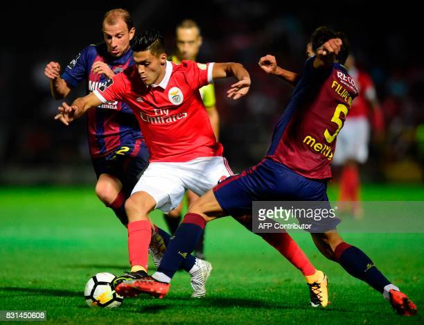 Benfica's Mexican forward Raul Jimenez vies with Chaves' midfielder Filipe Melo and Belorussian midfielder Renan Bressan during the Portuguese league...