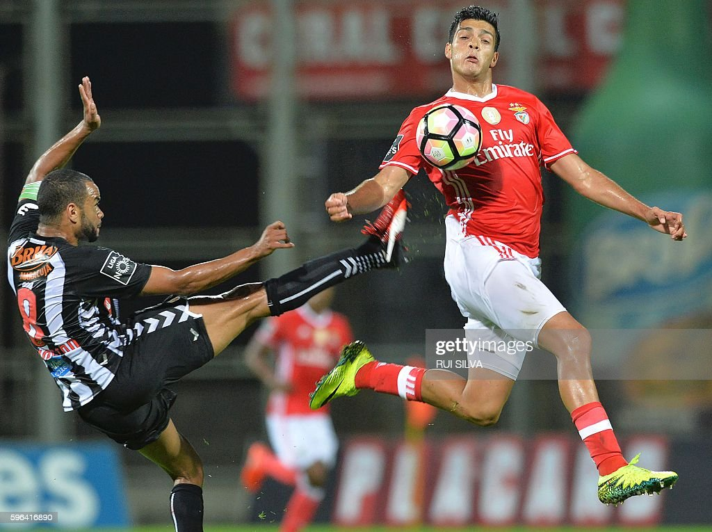 Benfica's Mexican forward Raul Jimenez vies with Nacional's Brazilian forward Washington during the Portuguese league football match CD Nacional...