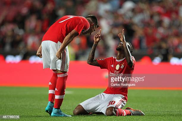 Benfica's midfielder Anderson Talisca celebrates scoring Benfica's sixth goal during the match between SL Benfica and CF Belenenses at Estadio da Luz...