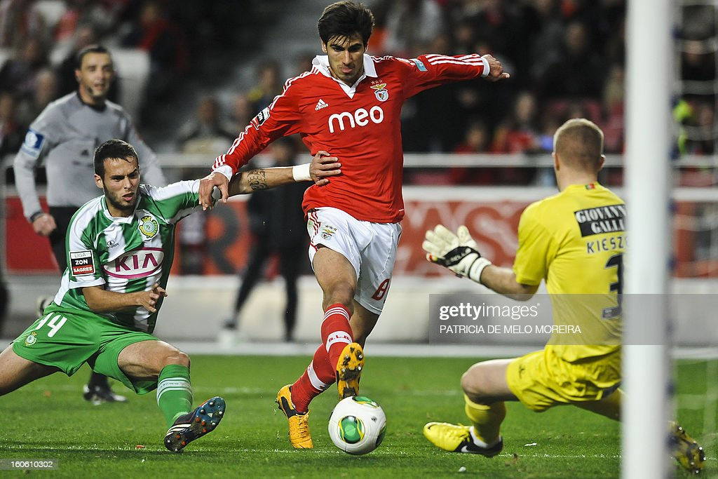 Benfica's midfielder Andre Gomes (C) vies with Vitoria Setubal's defender Miguel Lourenco (L) and Vitoria Setubal's Polish goalkeeper Kieszek (R) during the Portuguese League football match Benfica vs Vitoria Setubal at the Luz Stadium in Lisbon on February 3, 2013.