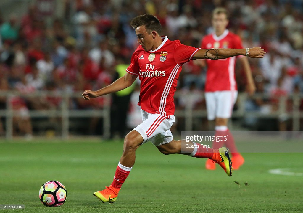 SL Benfica's midfielder Andre Horta in action during the Algarve Football Cup Pre Season Friendly match between SL Benfica and Vitoria Setubal at Estadio do Algarve on July 14, 2016 in Faro, Portugal.