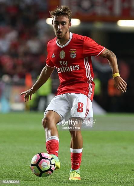 Benfica's midfielder Andre Horta in action during the Primeira Liga match between SL Benfica and Vitoria de Setubal at Estadio da Luz on August 21...