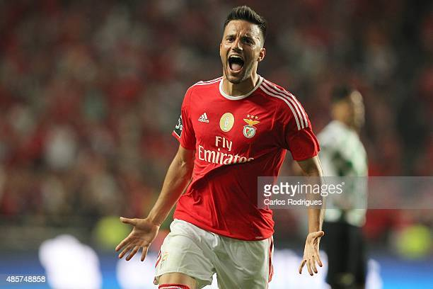Benfica's midfielder Andreas Samaris celebrating scoring Benfica«s second goal during the match between SL Benfica and Moreirense FC at Estadio da...