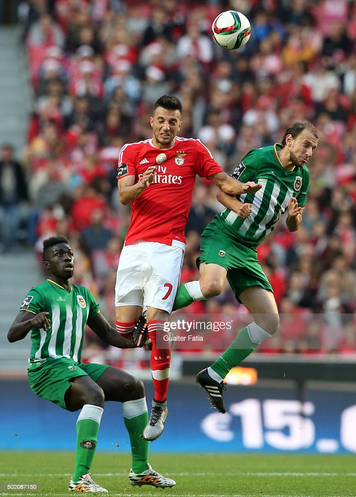 SL Benfica's midfielder Andreas Samaris with Rio Ave FC's midfielder Renan Bressan in action during the Primeira Liga match between SL Benfica and Rio Ave FC at Estadio da Luz on December 20, 2015 in Lisbon, Portugal.