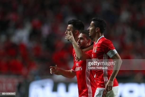 Benfica's midfielder Andrija Zivkovic from Serbia celebrates scoring Benfica second goal with Benfica's midfielder Andreas Samaris from Greece and...